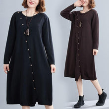 Load image into Gallery viewer, long sleeve plus size knitted vintage women causal loose midi autumn winter sweater dress