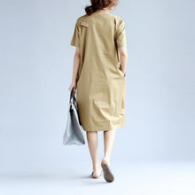Load image into Gallery viewer, Cotton Women Splicing Short Sleeves Khaki Dress