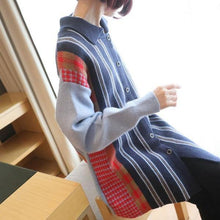 Load image into Gallery viewer, Fashion Knitting Stripe Sweater New  Turn-down Collar Single Breasted Trendy Loose Top