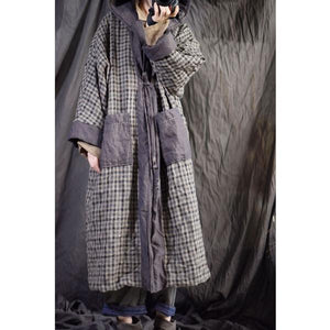 Omychic Linen Plaid Hooded Parkas Long Coat Female Padded Outerwear