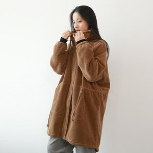 Vintage Stand Warm Coats 2020 Winter New Long Sleeve Thick Patchwork Women Cloths Retro Parkas