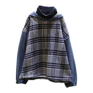 Splicing Plaid Sweatshirt Winter New False Tow Pieces Hooded Double Layer Collar Street Fashion Style Women