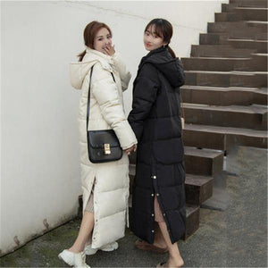 Loose Thick Long Over-the-knee Hooded Parkas Winter Coats