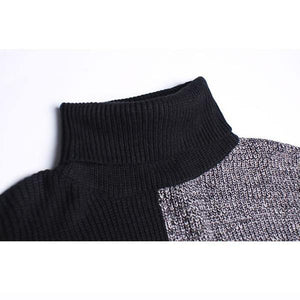 Turtleneck Pullover Winter New Splicing Contrast Color Pattern Loose Fashion