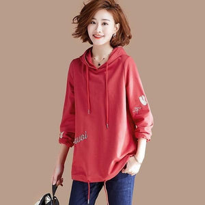 2020 Korean Style Letter Embroidery Female Hooded Pullovers