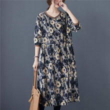 Load image into Gallery viewer, V-neck Floral Print Loose Comfortable Female Long Dresses