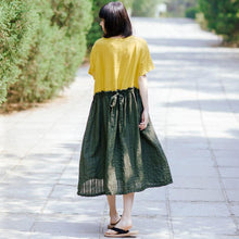 Load image into Gallery viewer, Summer Women Round Neck Short Sleeve Cotton Linen Pleated Dress