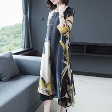 Load image into Gallery viewer, Elegant Yellow Print Chiffon Robes Inspiration O Neck Half Sleeve Clothing Summer Dresses