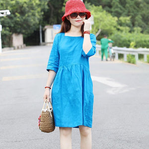 Special Collar Design Women Half Sleeve Loose Blue Folded Dress