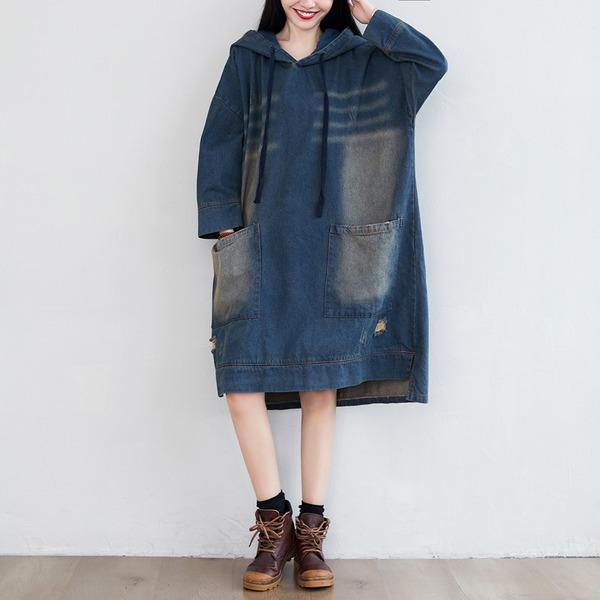 Denim Hooded Dress Ladies Bleached Ripped Irregular Length Denim Dresses Female 2020 Scratched Dress