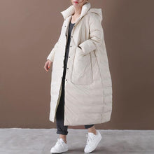 Load image into Gallery viewer, Women Beige Warm Winter Down Coats Hooded Pockets Wide-waisted Female Long Down Coats