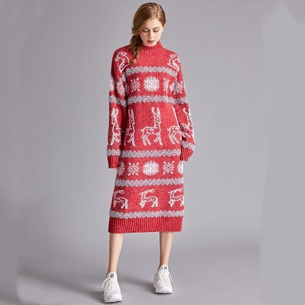 long sleeve plus size wool knitted Christmas women casual midi autumn winter Sweater dress
