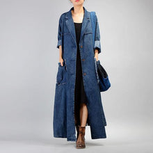 Load image into Gallery viewer, Women Trench Coat 2020 Fall Winter New Pockets Long Sleeve Blue Plus Size Trench