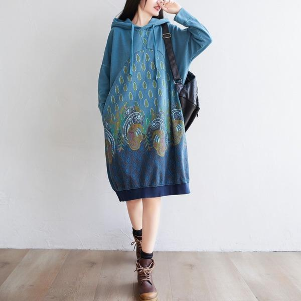 Women Printed Hooded Dress Autumn Retro Casual Print Loose Dress