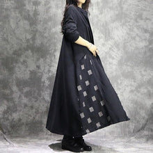 Load image into Gallery viewer, Women Cotton Linen Trench Vintage Autumn Coats Patchwork  Clothing Black Trench Coats