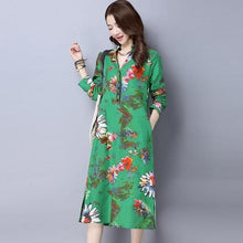 Load image into Gallery viewer, omychic plus size cotton linen vintage floral women casual loose autumn spring dress elegant vestidos clothes 2020 dresses