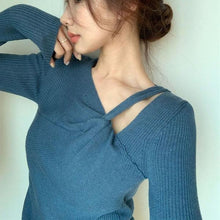 Load image into Gallery viewer, V Neck Collar Long Match All Slim Pullover Top