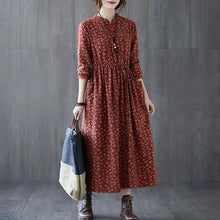 Load image into Gallery viewer, 2020 Autumn Vintage Style Floral Print Loose Comfortable Female A-line Dresses