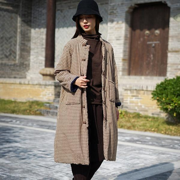 2020 Winter Stand Button Long Sleeve Chinese Style Thick Women Cloths Cotton Linen Parkas