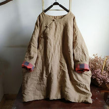 Load image into Gallery viewer, Women Chinese Style Linen Parkas Button Solid Color Warm Coats
