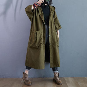 Oversized hooded casual loose long autumn spring trench coat for women 2020 clothes Outerwear