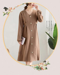 long sleeve plus size cotton vintage women casual loose midi spring autumn elegant party dress clothes