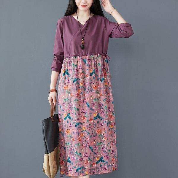 omychic cotton linen plus size vintage floral for women casual loose spring autumn dress