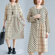 Load image into Gallery viewer, long sleeve cotton plus size vintage Polka Dot plaid women casual loose midi autumn dress