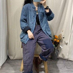 Omychic Winter Stripe Retro Jackets Thin Parkas Ladies Loose Coat Female 2020 Padded Denim Coat Outerwear