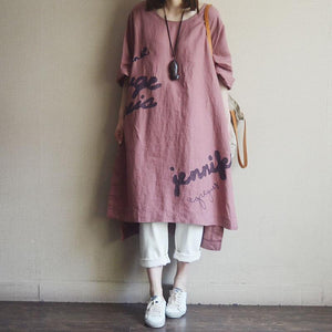 Casual Round Neck Cotton Embroidery Dress