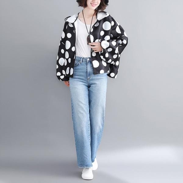 satin plus size vintage Polka Dot hoodie casual Loose Oversized spring Autumn Coat Women Jacket Zipper Clothes 2020 Cardigan