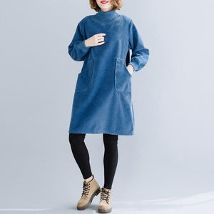 long sleeve plus size corduroy vintage women casual loose mini short autumn winter elegant dress clothes