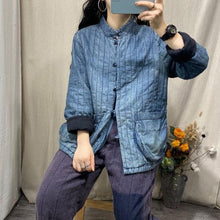 Load image into Gallery viewer, Omychic Winter Stripe Retro Jackets Thin Parkas Ladies Loose Coat Female 2020 Padded Denim Coat Outerwear