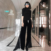 Load image into Gallery viewer, Patchwork Wide Leg Pants Fashion New Women Pleated Elastic Waist Patchwork High Waist Full Length Pants 2020 Winter