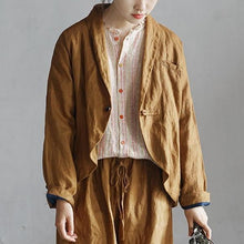 Load image into Gallery viewer, New 2020 Cotton Linen Retro Turn-down Collar Single Button Long Sleeve Coats