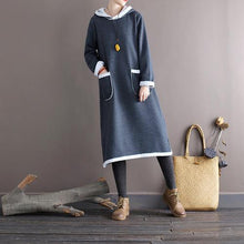 Load image into Gallery viewer, Omychic Autumn Winter Fleece Hooded Dress Ladies Vintage Patchwork Loose Dresses Female 2020 Fleeced Dress