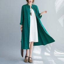 Load image into Gallery viewer, omychic plus size cotton linen vintage for women casual loose autumn shirt dress