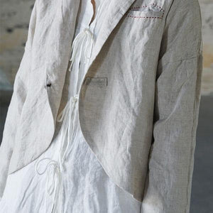 New 2020 Cotton Linen Retro Turn-down Collar Single Button Long Sleeve Coats