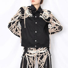 Load image into Gallery viewer, Patchwork Bandage Jacket Women Style Turn Down Collar Long Sleeve Single Breasted Coat