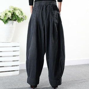 Loose Pants Women Casual Harem Pants Winter The New Fashion Solid Color Elastic Waist Pleated Aimplicity All-nmatch