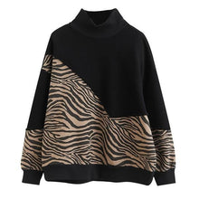 Load image into Gallery viewer, Patchwork Print Pattern Sweatshirt Women 2021 Winter Casual Fashion New Style Temperament All Match Women Clothes ( Limited Stock)