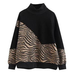 Patchwork Print Pattern Sweatshirt Women 2021 Winter Casual Fashion New Style Temperament All Match Women Clothes ( Limited Stock)
