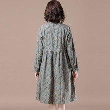 Load image into Gallery viewer, Plus Size Women Casual Dress New 2020 Autumn Vintage Floral Print 100%  Elegant Dresses