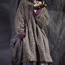 Load image into Gallery viewer, Cotton Linen Retro Print Plate Buckle Thick Warm Parkas 2020 Winter All-match Women Coat