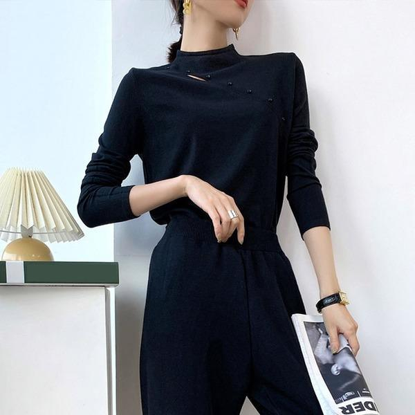 Women Full Sleeve 2020 Pleated Patchwork Elegant Casual Style Loose Pullover Sweater