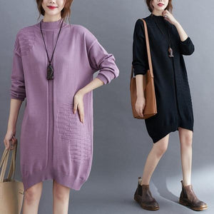 omychic plus size knitted vintage women causal loose midi autumn winter sweater dress
