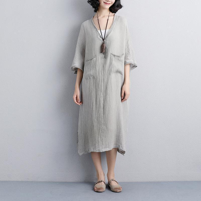 Loose V Neck 1/2 Sleeve Gray Knitting Dress