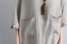 Load image into Gallery viewer, Loose V Neck 1/2 Sleeve Gray Knitting Dress
