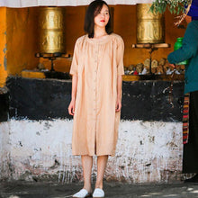 Load image into Gallery viewer, Round Neck Half Sleeve Women Single Breasted Ramie Shirt Dress