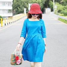Load image into Gallery viewer, Women Square Collar Half Sleeve Loose Blue Short Dress